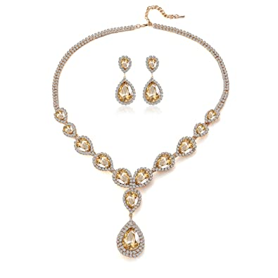 Paxuan Womens Silver Gold Plated Teardrop White Champagne Crystal Wedding  Bridal Jewelry Set Teardrop Pendant 40bf2c74cff4
