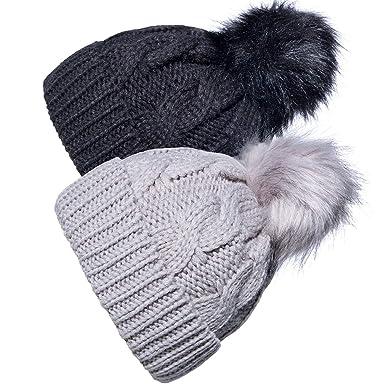 b7382782952 YSense 2 Pack Baby Boy Girl Winter Warm Fleece Lined Hat Infant Toddler Kid  Crochet Hairball