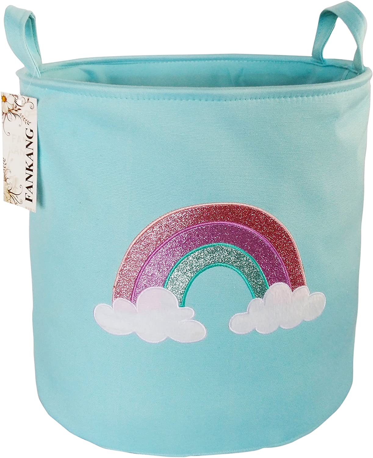 FANKANG Large Sized Gift Baskets Cute Rainbow Pattern Design Laundry Hamper Cotton Fabric Cylindric Storage Bin with Rope Handles, Decorative and Convenient for Kids Bedroom (Blue Rainbow)