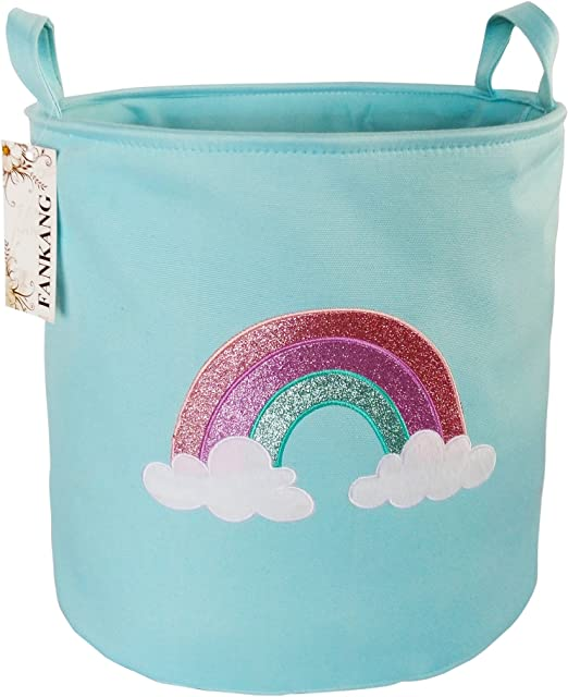 Blue Rainbow FANKANG Large Sized Gift Baskets Cute Rainbow Pattern Design Laundry Hamper Cotton Fabric Cylindric Storage Bin with Rope Handles Decorative and Convenient for Kids Bedroom