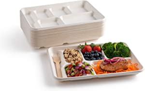 "brheez Eco-Friendly 6 Compartment 8.5""x12.5"" Disposable School Tray - Made from Bagasse Sugar Cane Fiber - Biodegradable, Compostable & Chemical Free - Pack of 50"