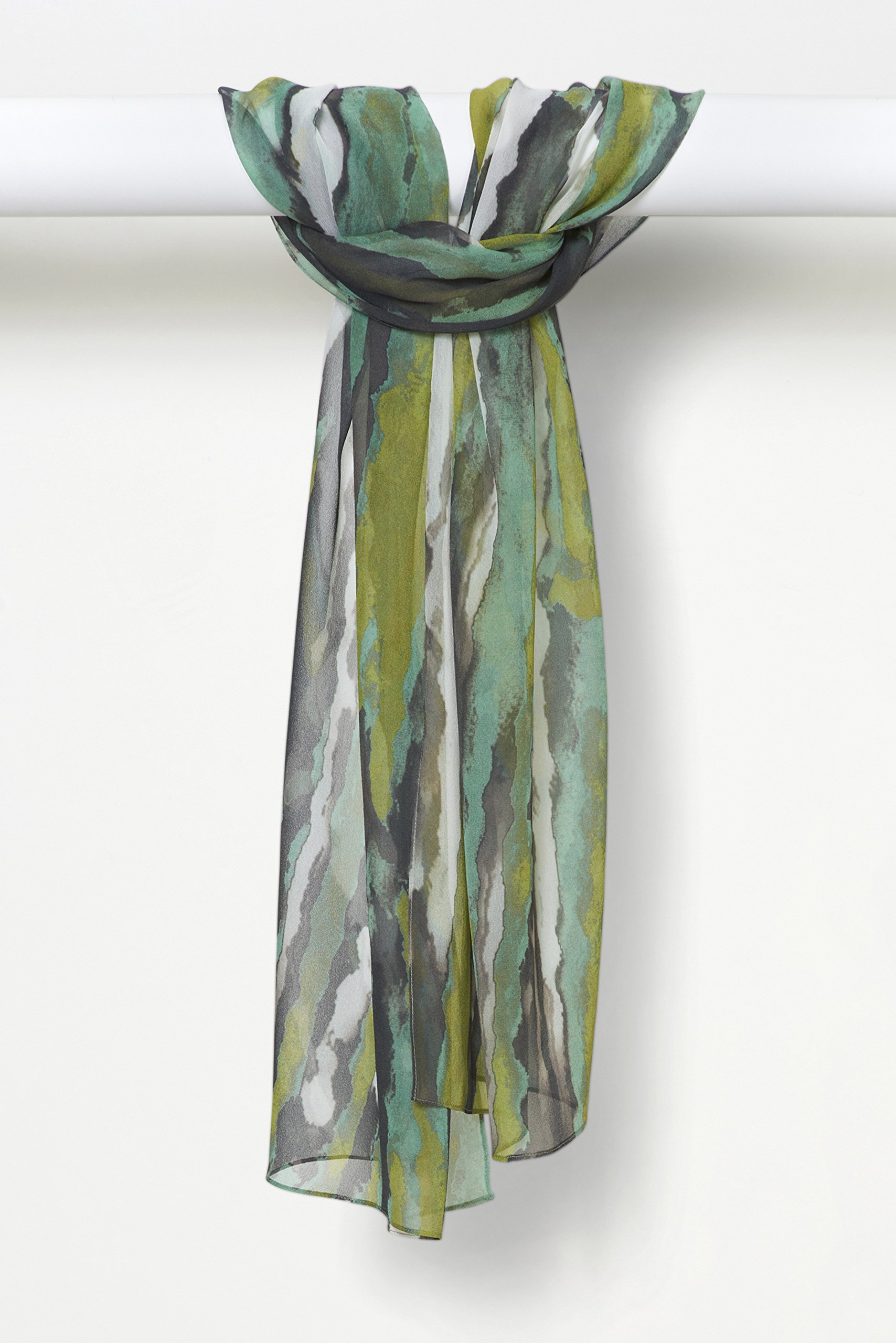 Three-Color Light Sprays Pure Silk Chiffon Scarf in Chartreuse Charcoal White