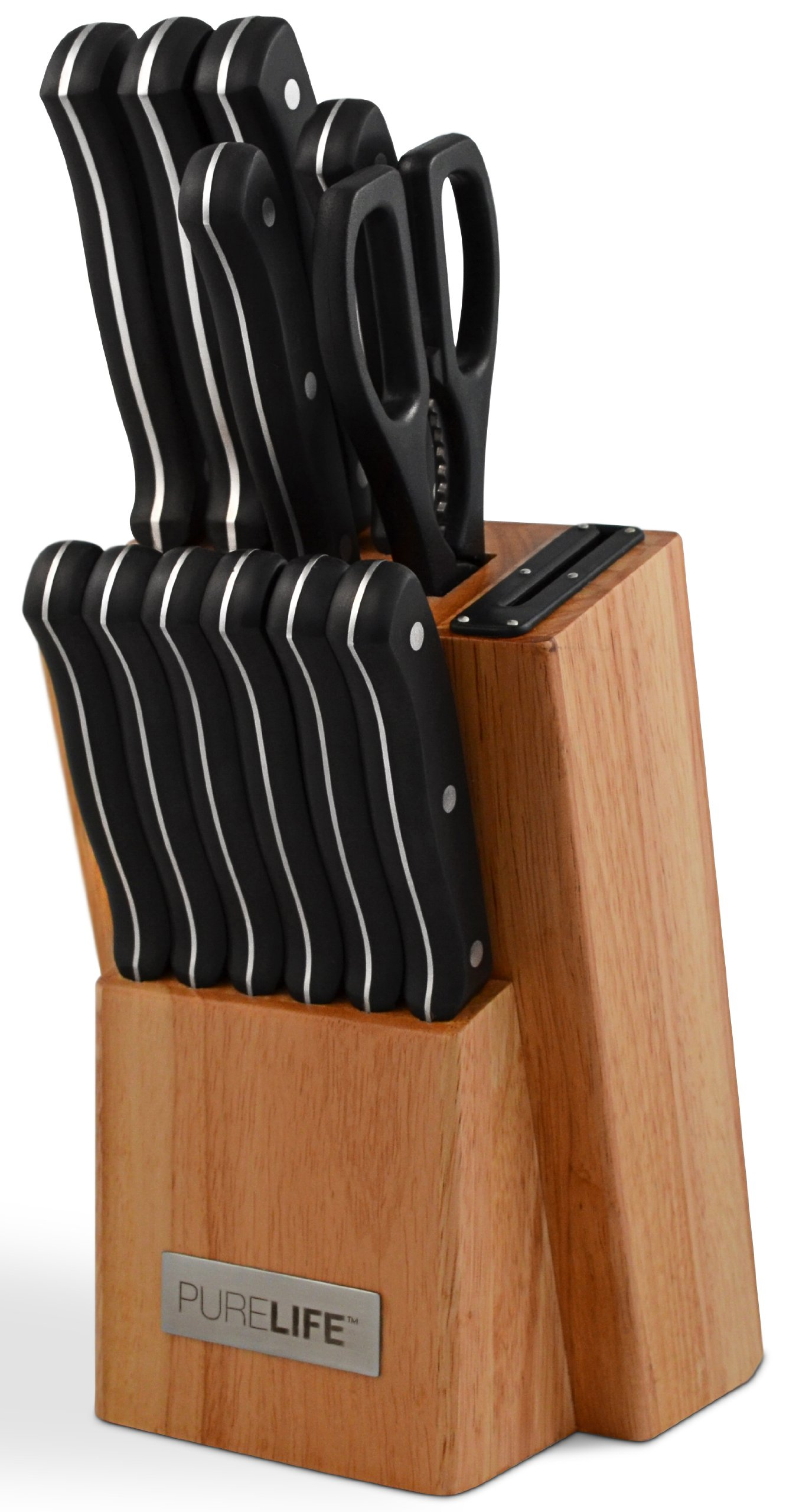 PureLife Ragalta PLKS 2000 Series 13-Piece High Carbon Stainless Steel Cutlery Set with Block and Bakelite Handles, Black