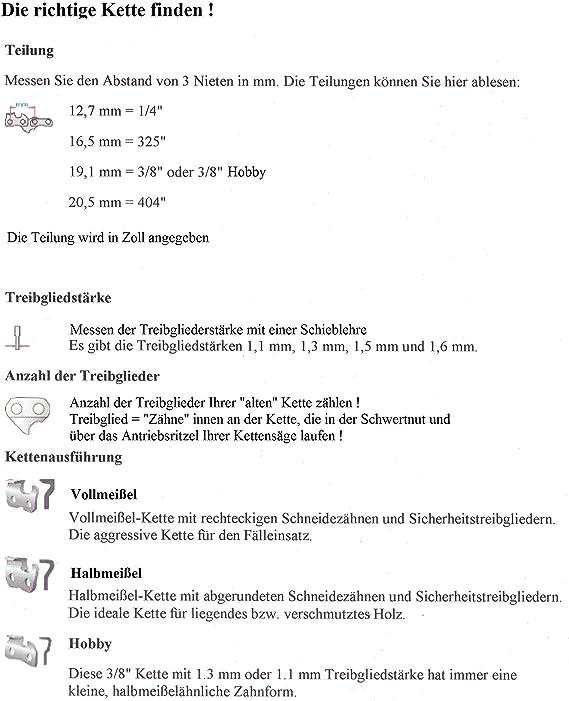 """Kette Sägekette 3//8/""""-1,1 mm-40 Tg p für Akku-Kettensäge EINHELL GE-LC 18 Li"""