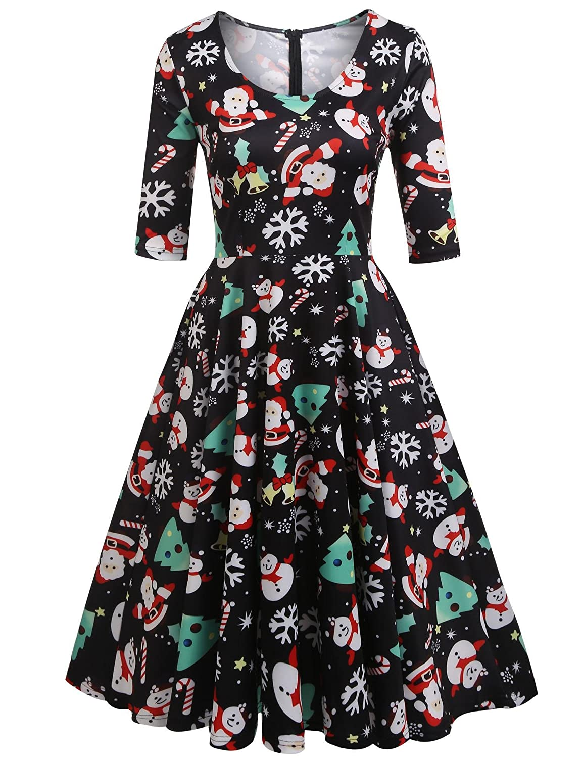 Vintage Christmas Gift Ideas for Women  Half Sleeve Swing Dress Flower Print A Line Tea Dress ELESOL Womens $36.59 AT vintagedancer.com