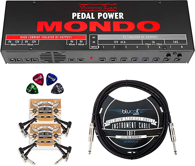 4-Pack of Celluloid Guitar Picks and 5X Cable Ties Blucoil 10-FT Mono Instrument Cable 2-Pack of Pedal Patch Cables Voodoo Lab Pedal Power 4x4 Isolated Power Supply Bundle with AC Line Cord