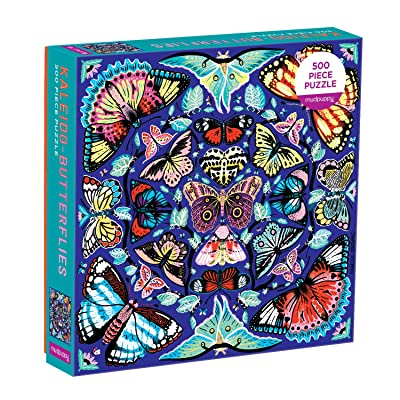 """Mudpuppy Kaleido-Butterflies Jigsaw Puzzle, 500 Pieces, 20"""" x 20"""" – Ages 8+ – Colorfully Arranged in a Kaleidoscope View Pattern – Fun and Challenging Family Puzzle – Fun Indoor Activity, Multicolor: Toys & Games"""