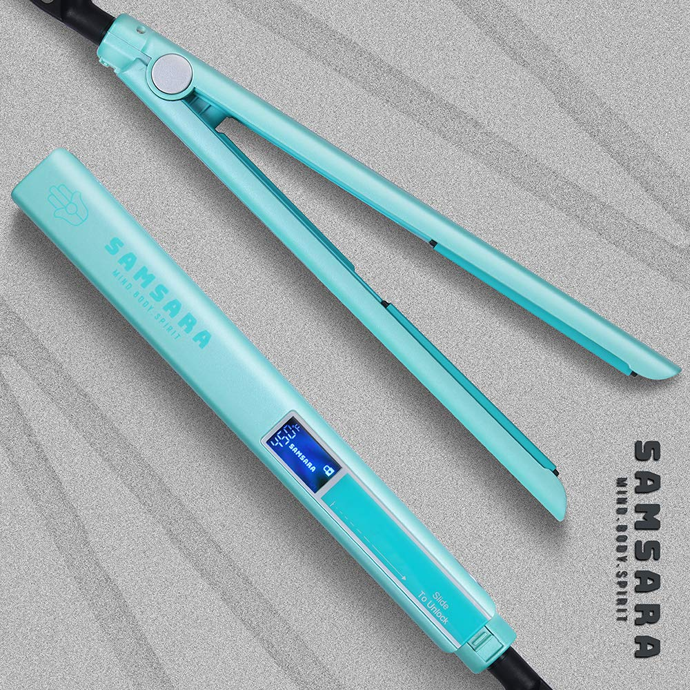 SAMSARA 1 Anti-Static Mini Flat Iron for Hair Touch Control Portable Hair Straightener Adjustable Temperature, 3D Floating Ceramic Plates, 15s Instant Heat up, Dual Voltage Travel Iron, Palegreen
