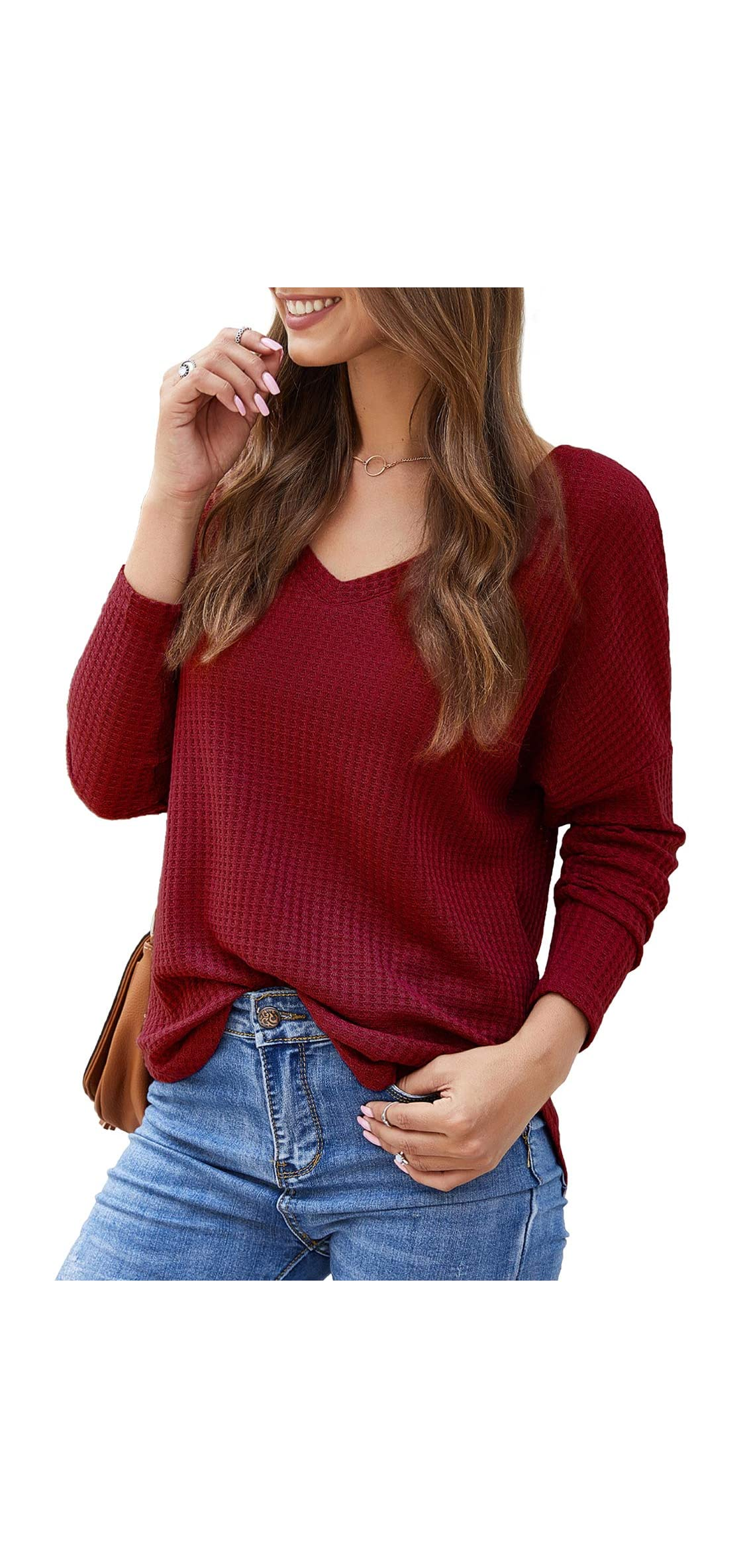 Womens Waffle Knit Shirts Casual Tops Long Sleeve Cute Off