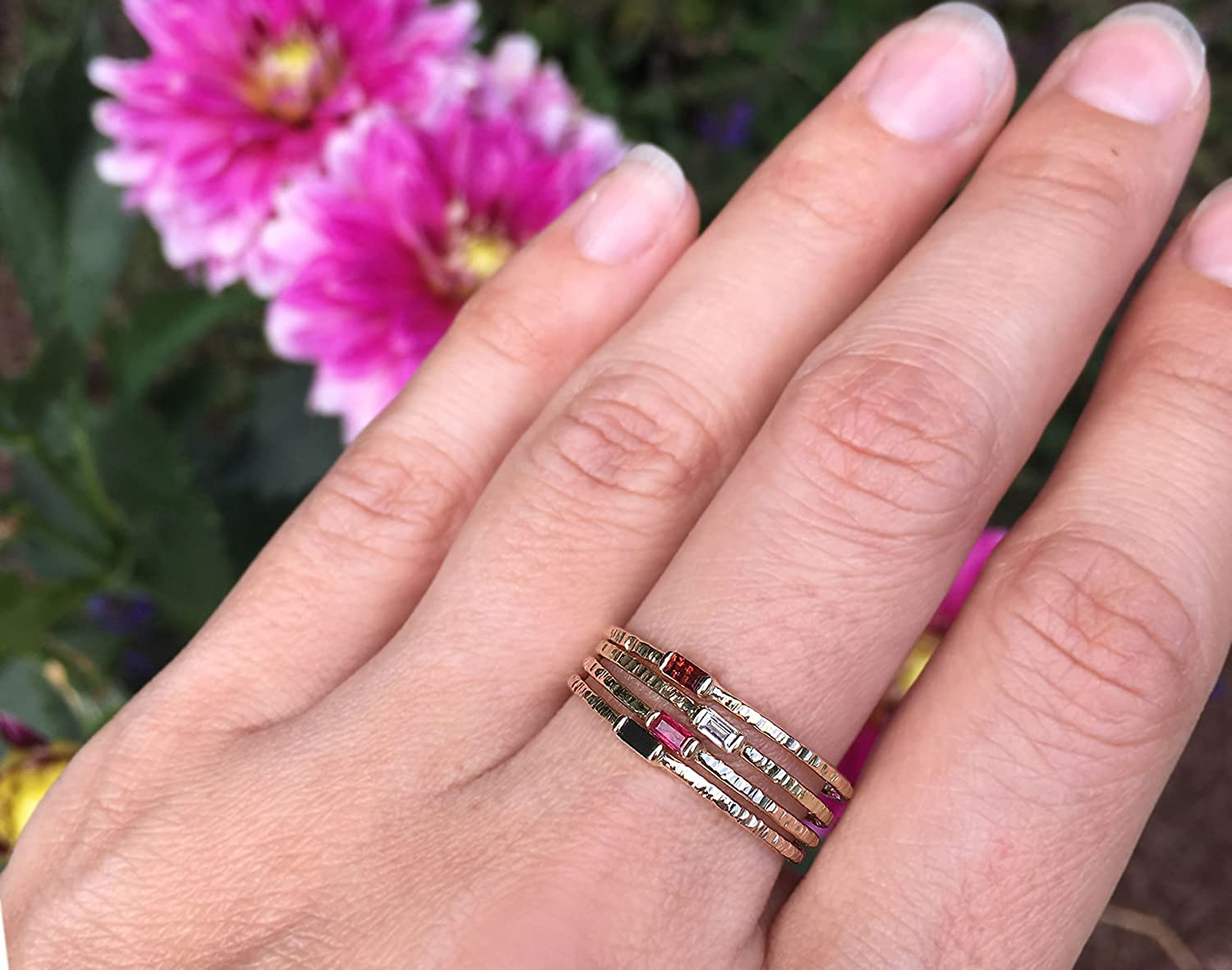 Amazon.com: Petite Baguette Ruby Hammer Texture Ring - Solid 14k ...