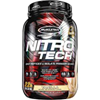 MuscleTech NitroTech Protein Powder Plus Muscle Builder, 100% Whey Protein with Whey Isolate, Milk Chocolate