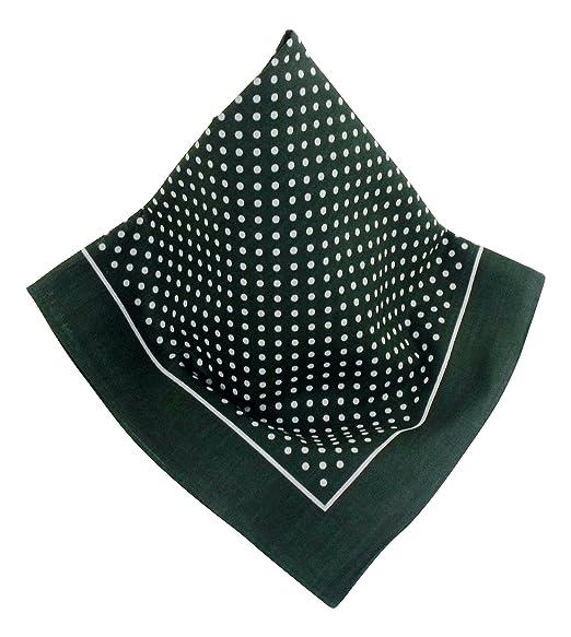53 x 53 cm Dunkel-gr/ünes Nickituch mit Punkten und Bord/üre Halstuch Teichmann Bandana aus 100/% Baumwolle