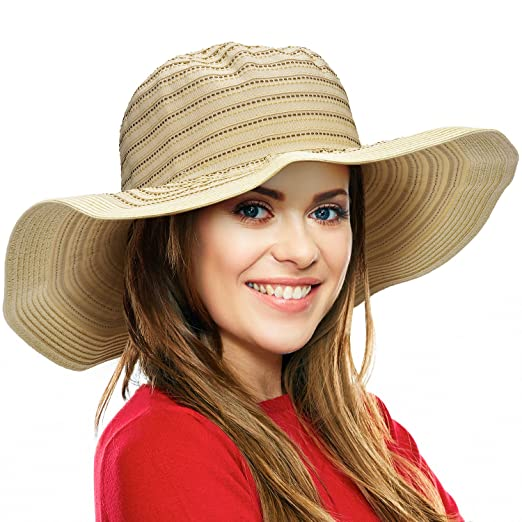 23e8c830199 Ladies Summer Hat Floppy Striped Wide Brim Sun Protection Foldable Travel  Beach Hats Beige
