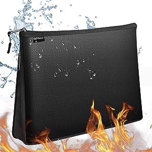 Fireproof Bag, Water Resistant & Fireproof Money Safe Bag, Fireproof Safe Valuables Storage Case & Organizer Bag with Zipper for Valuables, Cash, Passport, Keys (Black) (L)