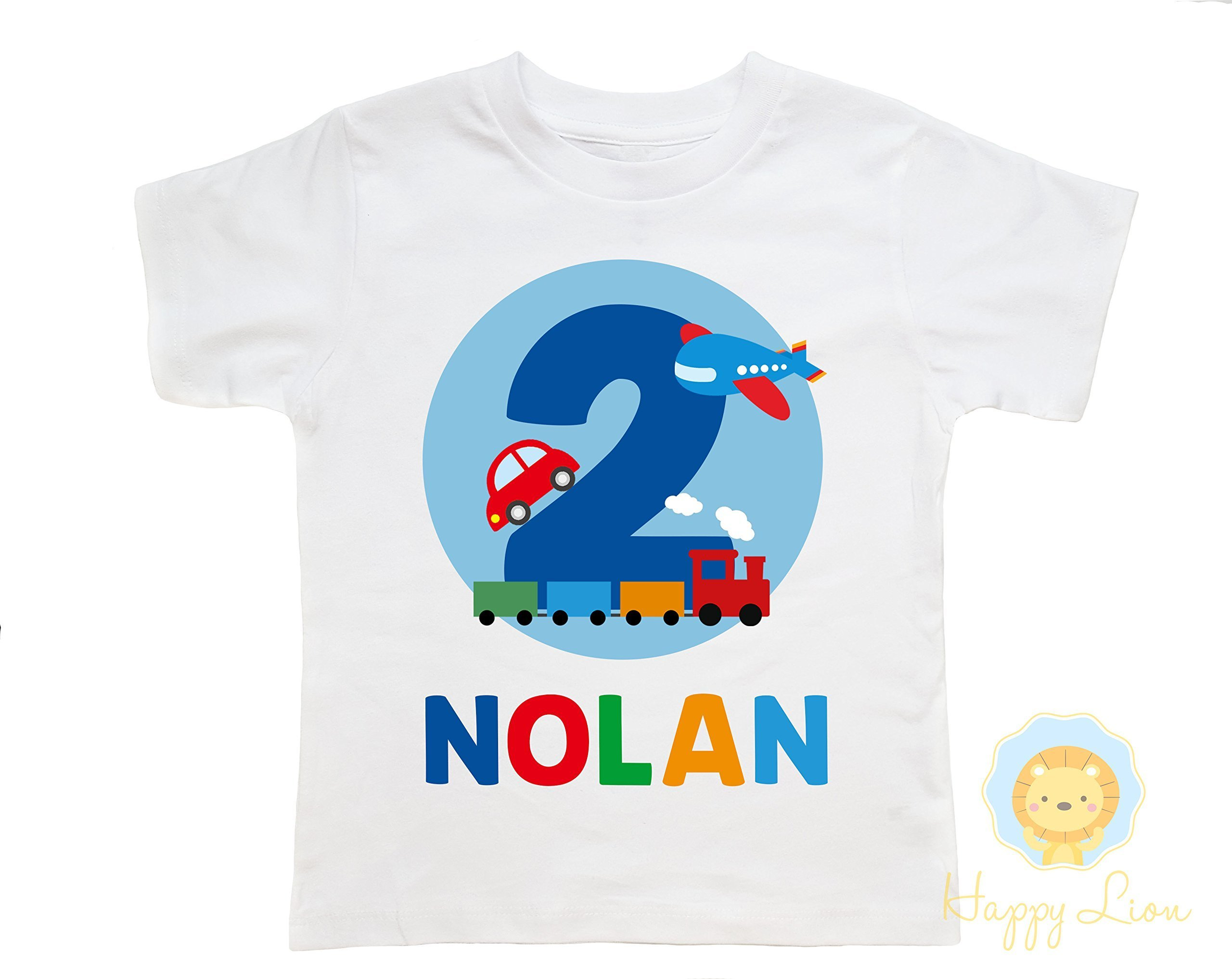 Happy Lion Clothing - Transportation Things That Go Birthday Shirt for Toddler Boys, Cars and trucks birthday shirt, airplanes, trains, cars
