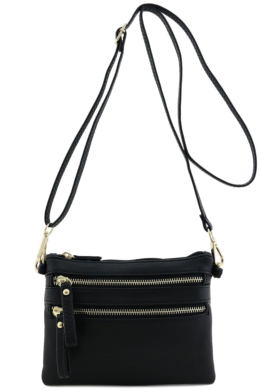 Multi Zipper Pocket Small Wristlet Crossbody Bag by Fashion Puzzle