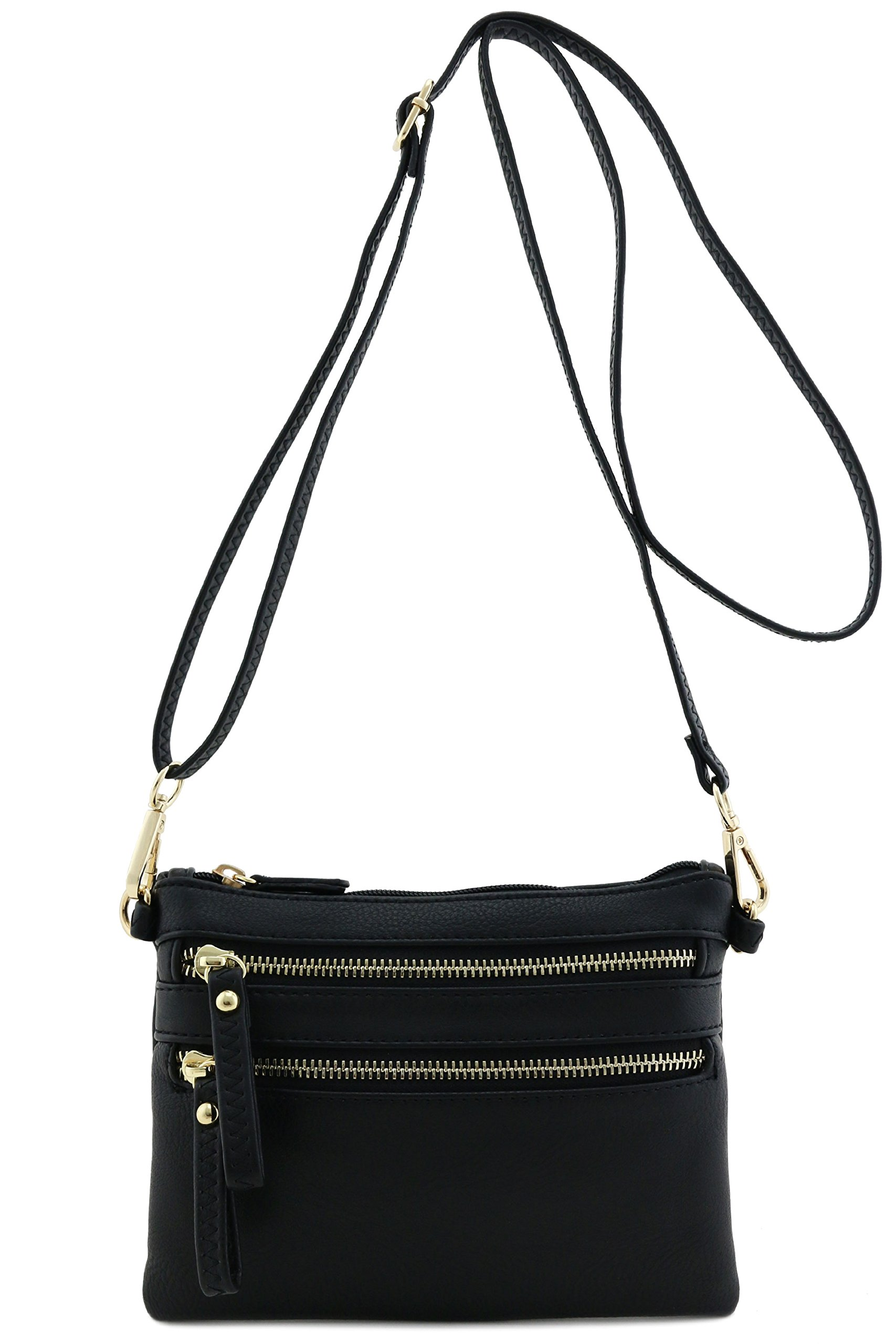 FashionPuzzle Multi Zipper Pocket Small Wristlet Crossbody Bag Black,One Size