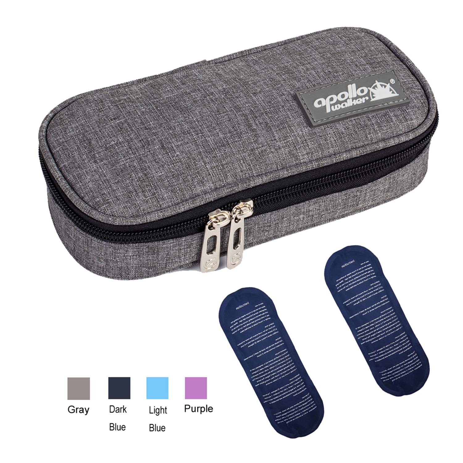 Apollo Walker Insulin Cooler Travel Case Diabetic Medication Cooler with 2 Ice Packs and Insulation Liner (Gray)