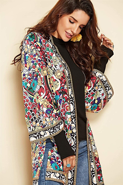 ... Africano Azteca Flores Larga Aberturas Blusón Blusa Camisa Jacket Cazadora Chaqueta Chamarra Coat Capa Abrigo Top Rojo: Amazon.es: Ropa y accesorios
