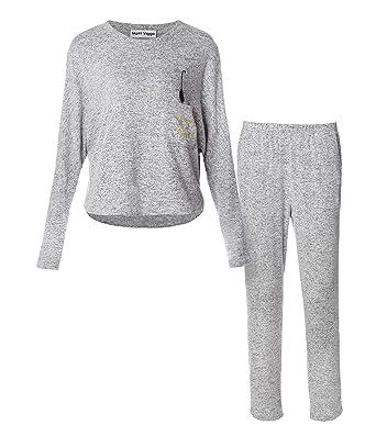 Matt Viggo Women Pyjama Set Fleece Cat Long Sleeves Jogging Loungewear  Sweater Pjs Round Neck cb86a88b4