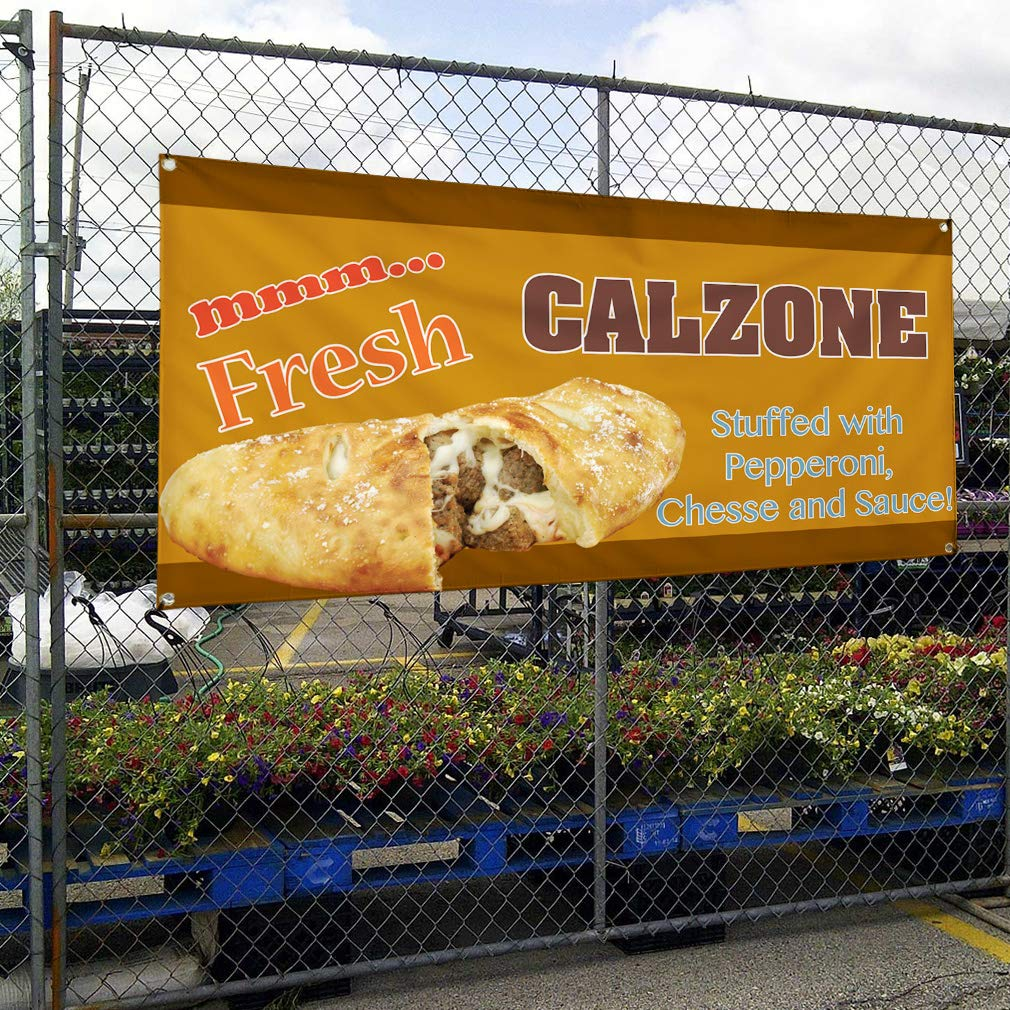 8 Grommets Calzone Marketing Advertising Yellow 44inx110in One Banner Vinyl Banner Sign Pepperoni Cheese and Sauces Multiple Sizes Available