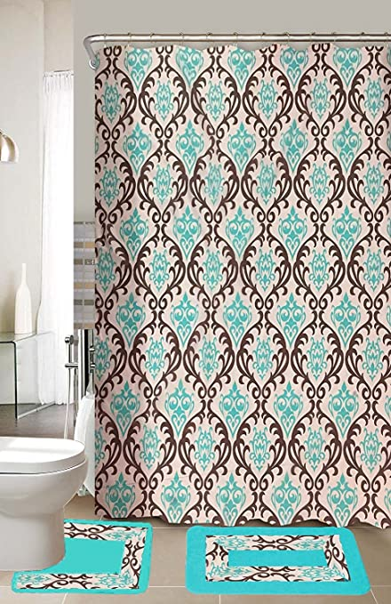 EMPIRE Home Lucy 15 Piece Brown Turquoise Bathroom Accessories Set Rugs Shower Curtain
