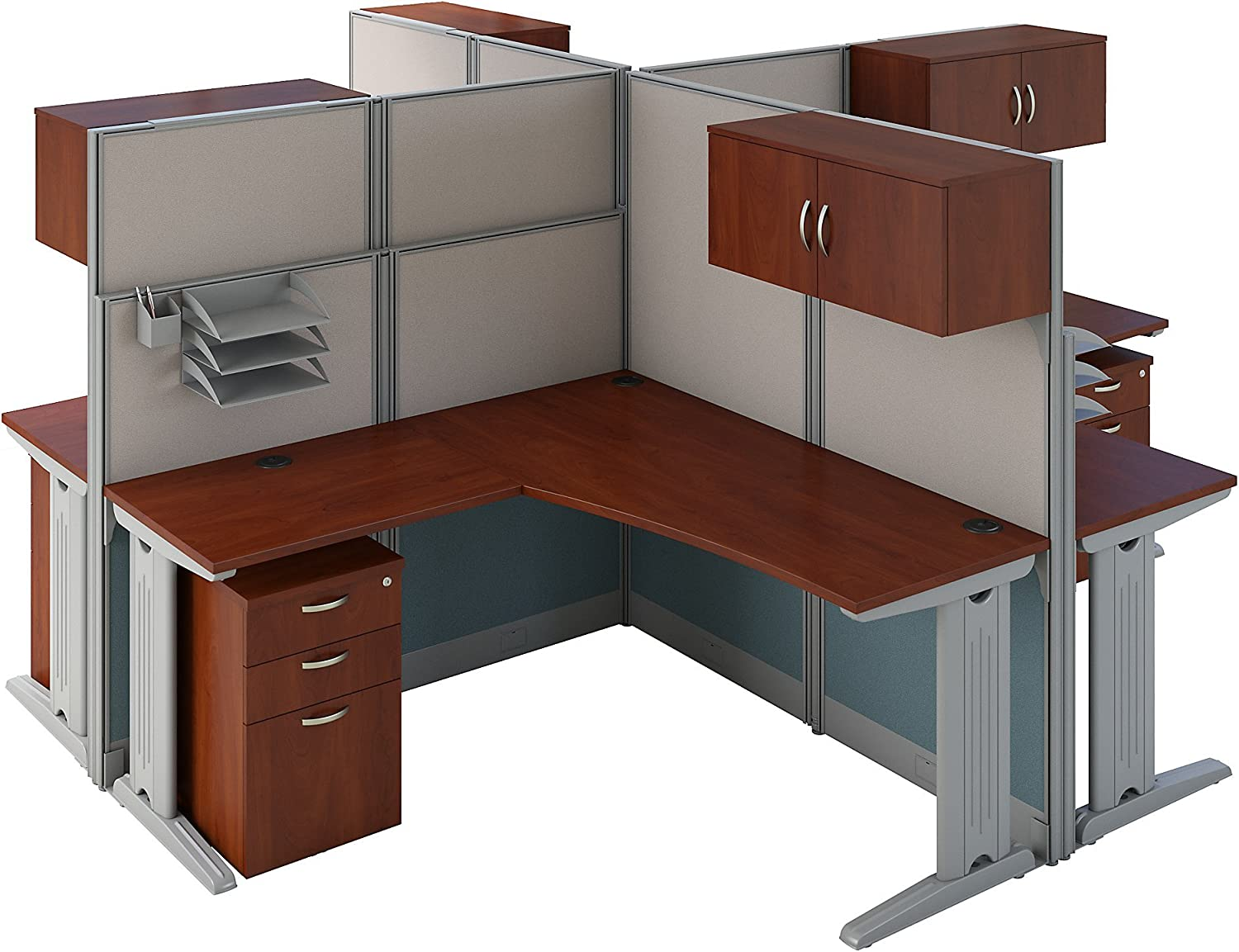 Amazon Com Office In An Hour 4 Person L Shaped Cubicle Workstations In Hansen Cherry Furniture Decor