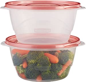 Rubbermaid TakeAlongs Serving Bowl Food Storage Containers, 6.2 Cup, Tint Chili, 3 Count 1953861