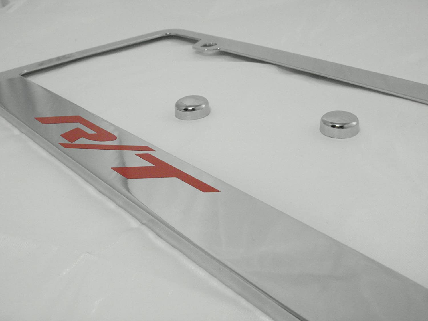 Fit Dodge R//T Polished Chrome License Plate Frame with Caps Stainless Steel