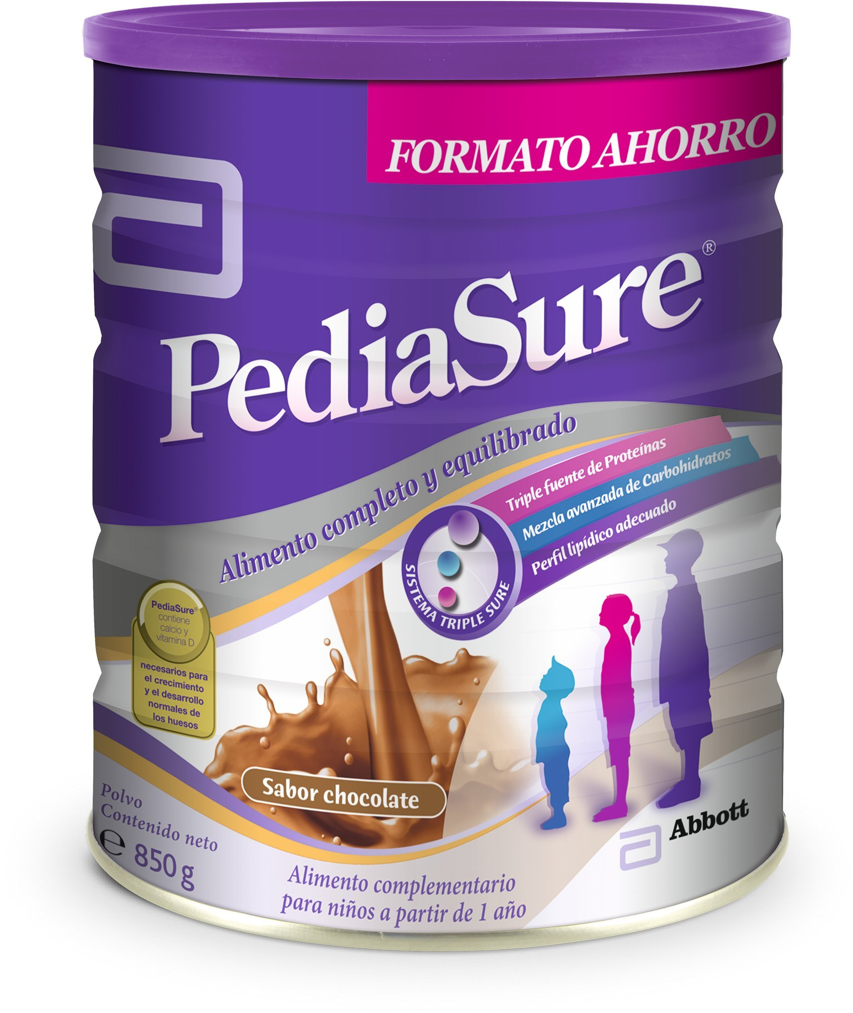 PediaSure Polvo lata 850g sabor chocolate. Alimento completo y equilibrado para niños a partir de