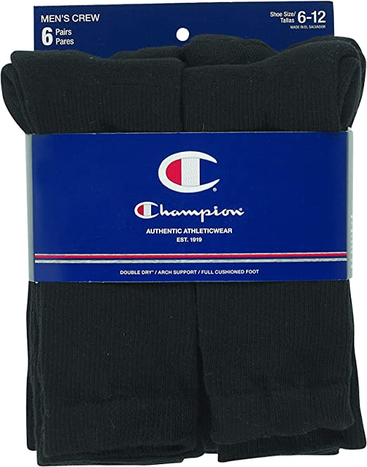 Champion Crew Socks 6-Pack Double Dry Performance Men/'s Non-Chafe Toe sz 6-12