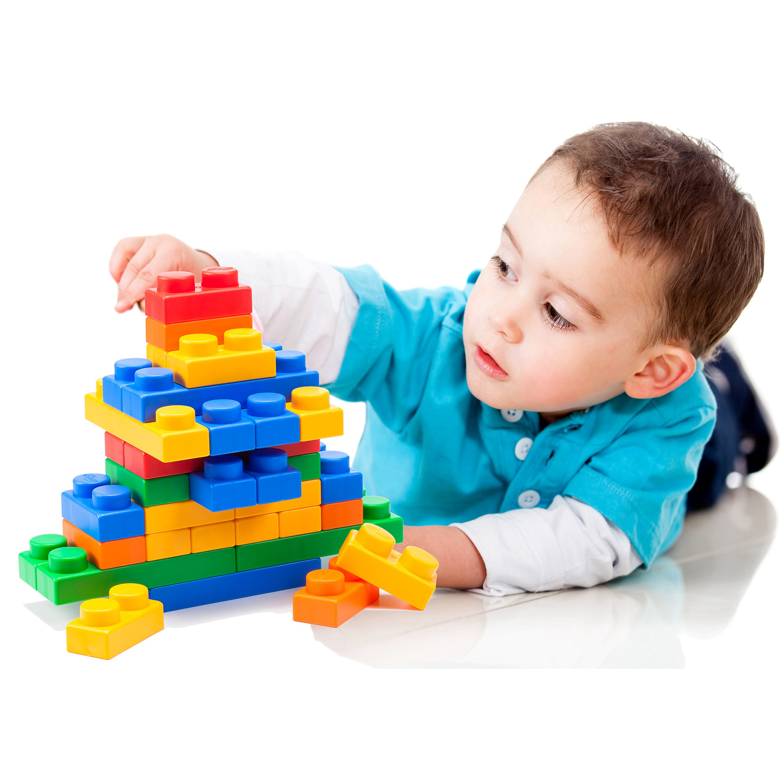 UNiPLAY Soft Building Blocks - Basic Series (60pcs), Educational and Creative Toys, Food Grade Material(Antibacterial), Non-Toxic,100%SAFE for Kids, Toddlers, Baby, Preschoolers