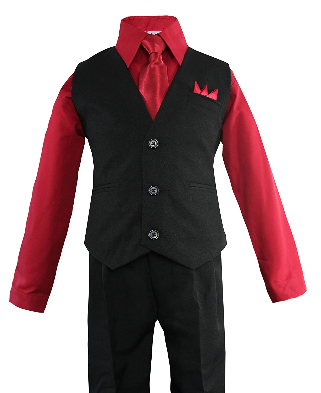 Luca Gabriel Toddler Boys' 4 Piece Vest Shirt Tie Pant and Hanky Set