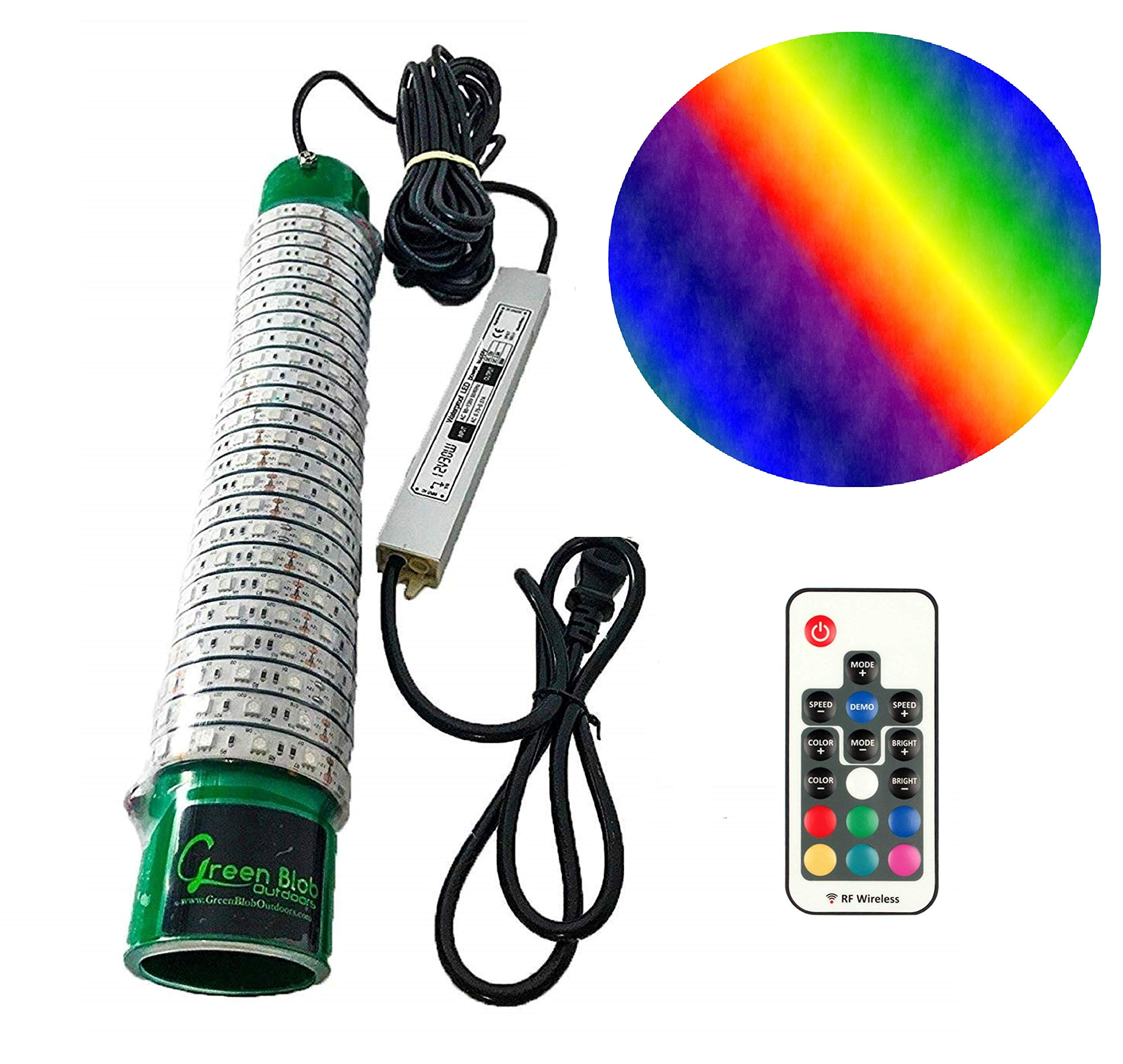 (Green, Blue, or White) Blob Underwater 110 Volt Dock Fishing Light BLOB-15000, 15000 Lumen, LED Fish Finding System Light with 30ft Power Cord, Bait rig, Fish attractant, Ponds (Multi-Color)