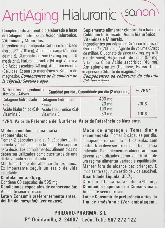 Sanon Nutricosmetica, Anti envejecimiento con Hialuronic, 60 Cápsulas. 595 mg: Amazon.es: Salud y cuidado personal