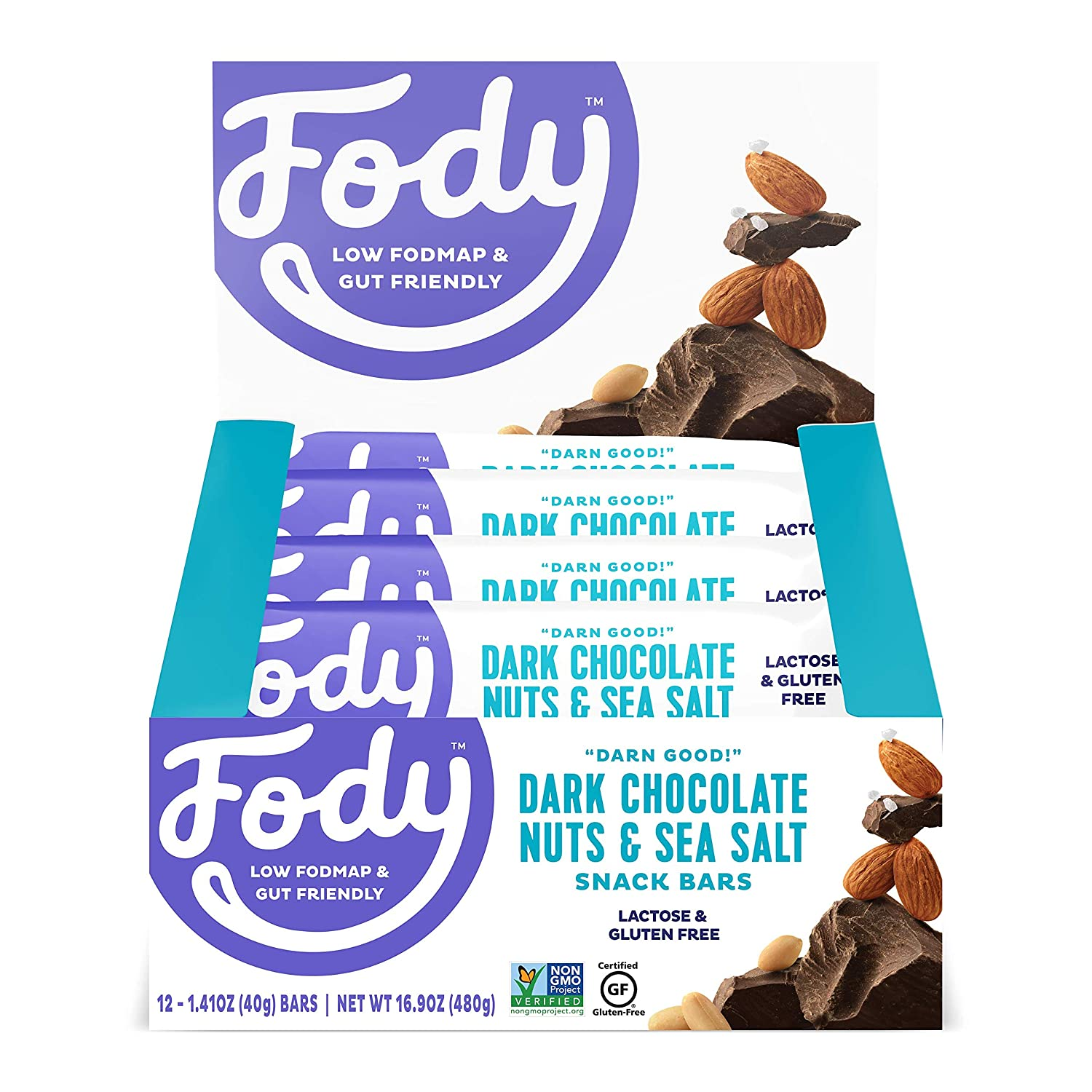 Fody Foods Vegan Protein Nut Bars | 6g Protein Snack Bar | Low FODMAP Certified | Gut Friendly IBS Friendly Snacks | Gluten Free Lactose Free Non GMO | Dark Chocolate Nuts and Sea Salt, 12 Count