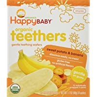 Happy Baby Gentle Teethers Organic Teething Wafers Banana Sweet Potato, 0.14 Ounce Packets (Box of 12) Soothing Rice Cookies for Teething Babies Dissolves Easily Gluten Free No Artificial Flavor