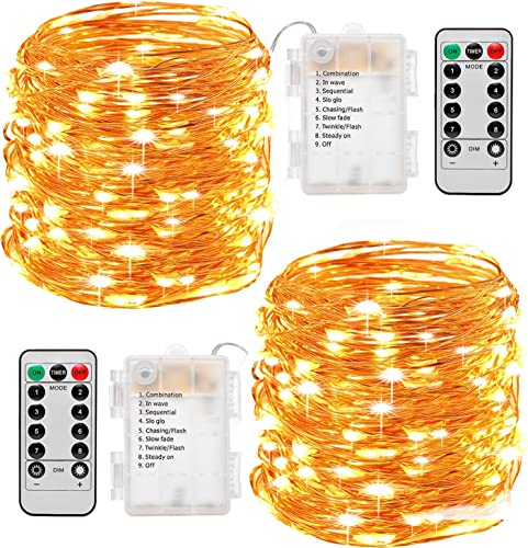 Fairy Lights, Sanniu 2 Pack Fairy String Lights Battery Operated with Remote Control 8 Modes 50 LED 16ft Waterproof String Lights Copper Wire Firefly Lights Christmas Decor Christmas Lights Warm White