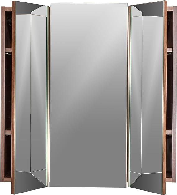 Posseik 5484-78 - Armario con 3 Puertas y Espejo para baño (68 x 71 x 20 cm), Acabado Nogal: Amazon.es: Hogar