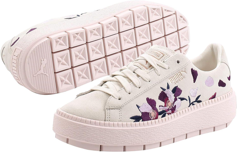puma basket suede platform trace flowery pour femme