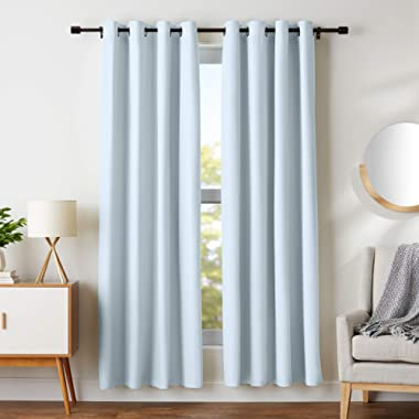 AmazonBasics Room Darkening Blackout Window Curtains with Grommets  - 52  x 84 , Light Grey, 2 Panels