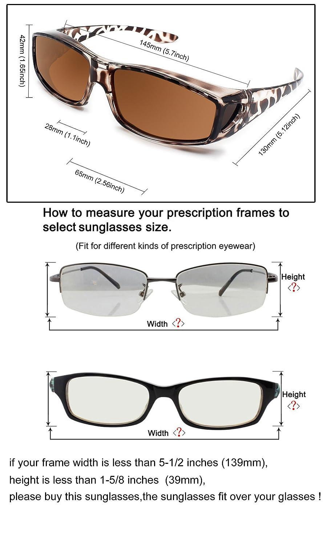 a3a57ff89b Fit Over Glasses Sunglasses Polarized Lenses Men Women Wear Over Prescription  Glasses Outdoor sports sunglasses UV400 (Leopard)
