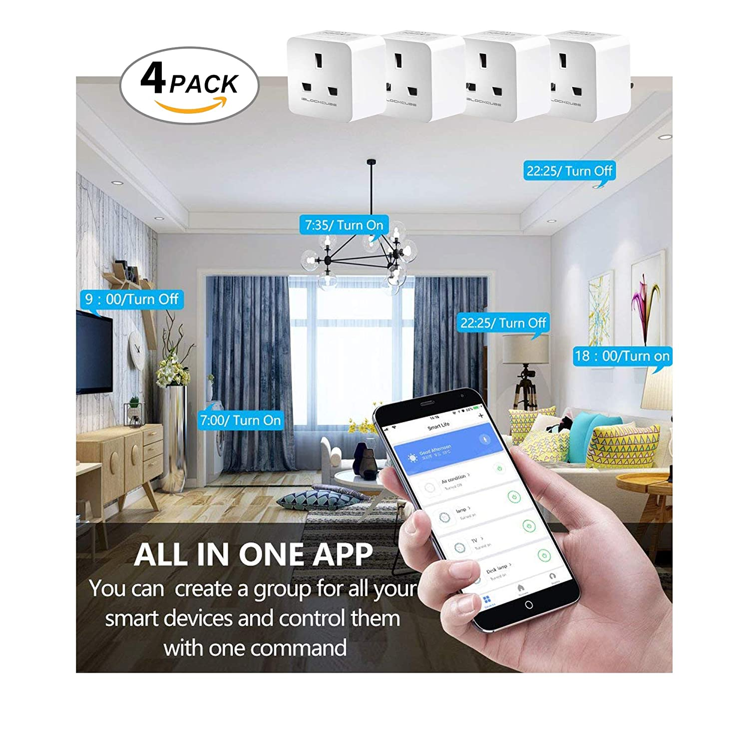 Google Home and IFTTT WiFi Outlet Works with  Alexa Wireless Socket Remote Control Timer Plug Switch Smart Plug 1 Pack Smart Home Accessories Echo No Hub Required,16A SWA9 - White