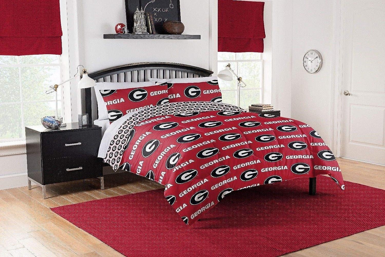 Georgia Bulldogs Queen Comforter & Sheet Set, 5 Piece NCAA Bedding, New! + Homemade Wax Melts