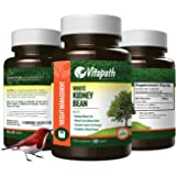 White Kidney Bean Extract 1000mg for Maximum Fast Weight Loss, Appetitie Suppressant, 100% All Natural with African Mango, Green Tea Extract & More, 60 Count, By VitaPath