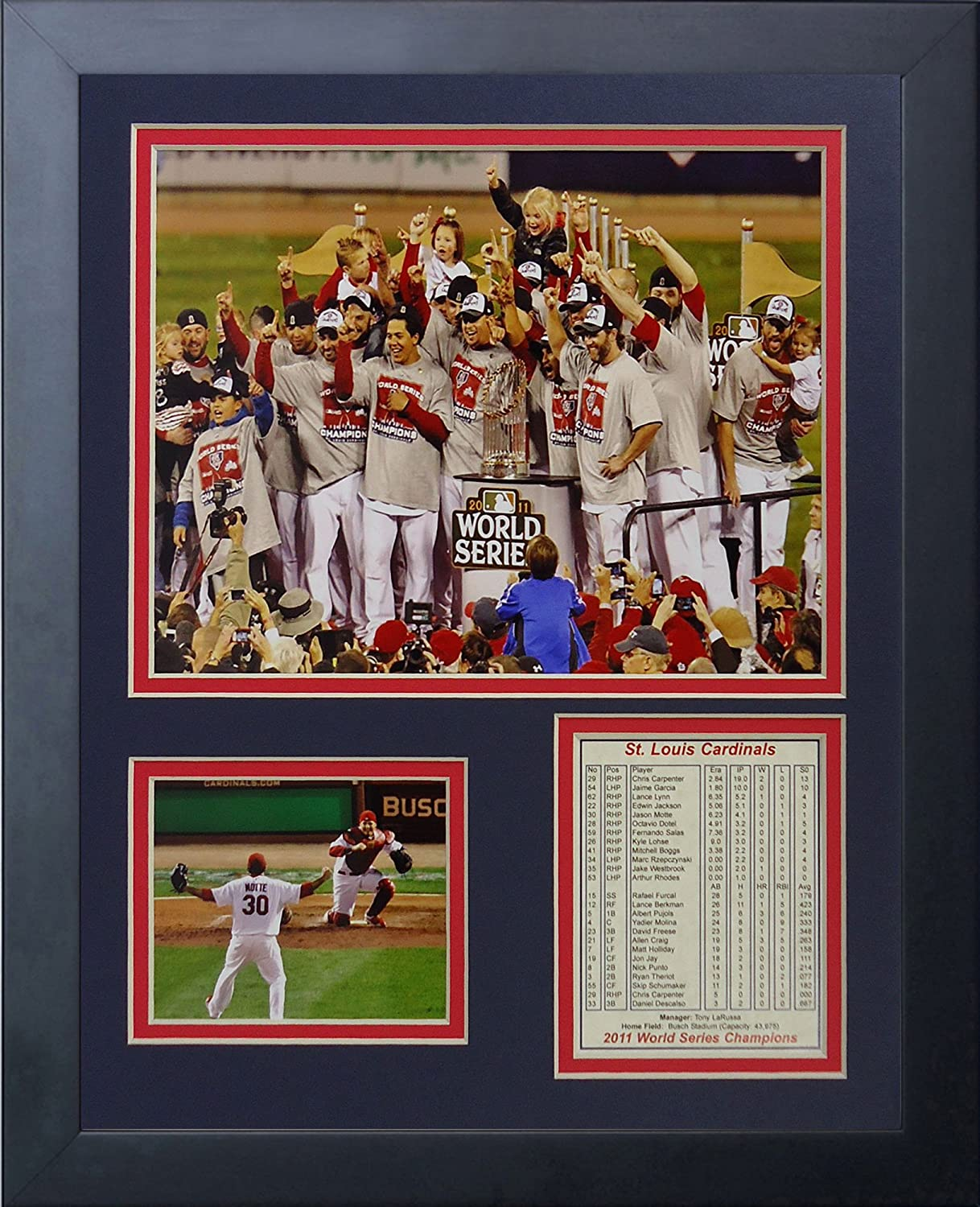 "2011 St. Louis Cardinals 11"" x 14"" Framed Photo Collage by Legends Never Die, Inc. - Podium"