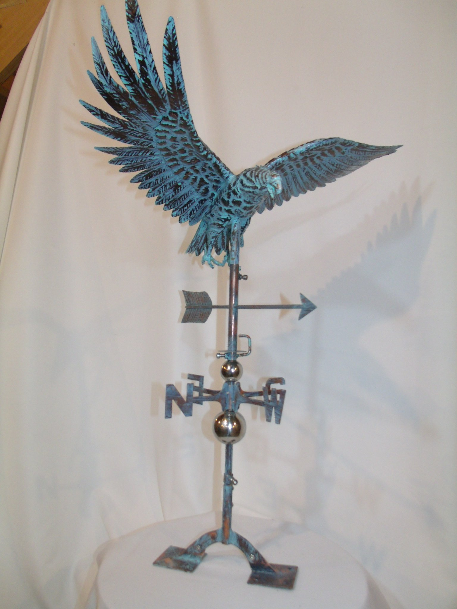 LARGE Handcrafted 3D 3- Dimensional EAGLE Weathervane Copper Patina Finish