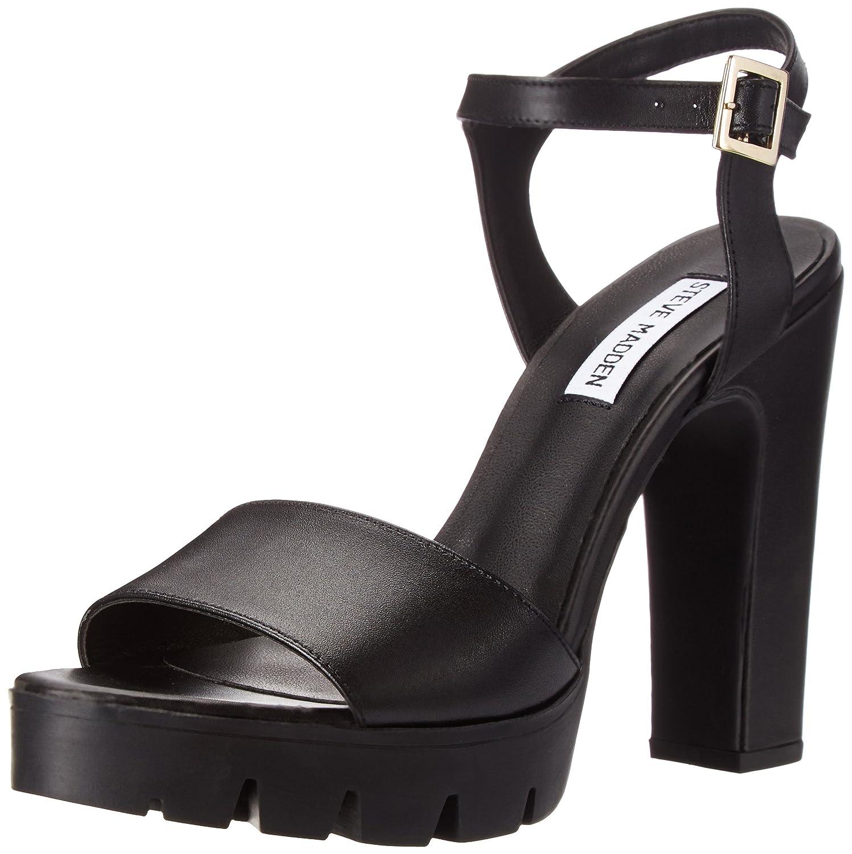 Steve Madden Women's Traiin Dress Sandal B00NLDWII0 10 B(M) US|Black Leather