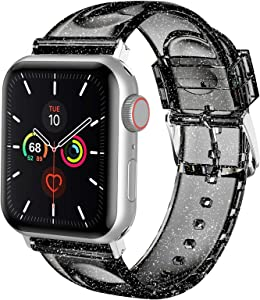 iiteeology Compatible with Apple Watch Band 42mm 44mm, Women Glitter Soft Silicone Sports iWatch Band Strap for Apple Watch Series 6/5/4/3/2/1/SE (42mm 44mm Black/Silver Band + Silver Connector)
