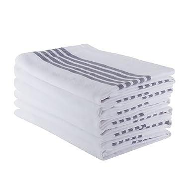 "The Weaver's Blend Set of 6 Kitchen Towels, Stripe Design, 100% Cotton, Absorbent, Size 28""x18"", Grey Stripe,Kitchen Towels and Dish Cloths"